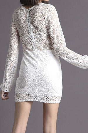 WHITE LONG SLEEVE V NECK FULL LACE MINI DRESS