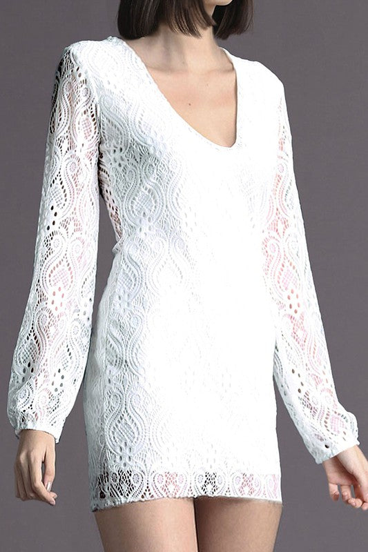 LONG SLEEVE V NECK FULL LACE SHORT DRESS IN WHITE