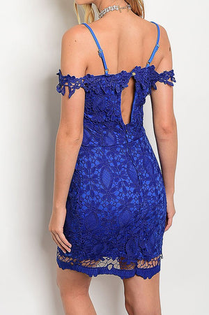 CROCHET LACE OFF SHOULDER DRESS IN ROYAL BLUE