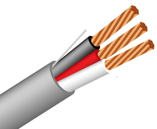 Security Alarm Cable 22/3 (7 Strand) CMR FT4 Rated Unshielded 1000'