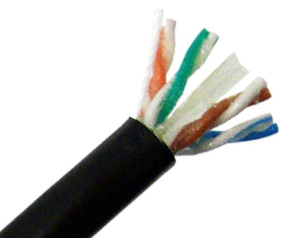 CAT6 Outdoor Direct Burial CMX Cable, Poly-Gel Filled, 1000' - Black