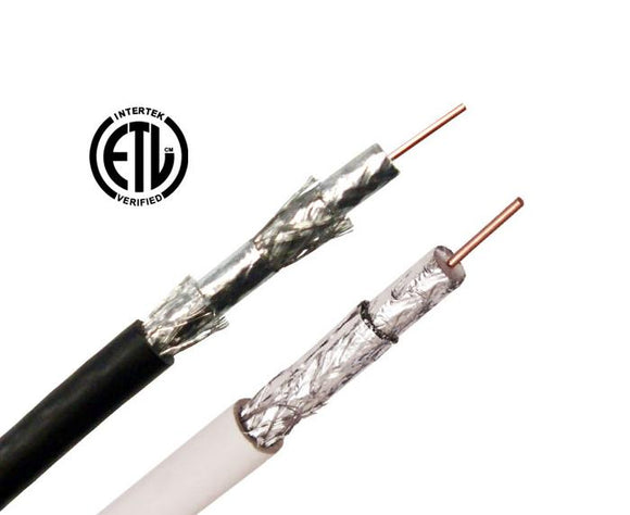 RG6 Coaxial Cable, Quad Shielded, 18 AWG BC, 60% AL Shield
