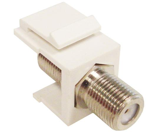 F-81 Keystone Insert, F-Type Female to Female Nickel Plated Coupler. The Snap-In Module Comes in White, Ivory and  Almond