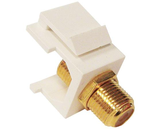 F-81 Coax Keystone Jack, F-Type Female to Female Coupler, Gold Plated, White