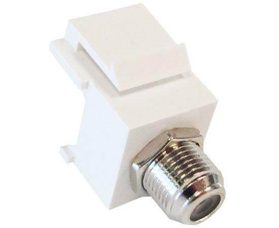 F-81 Coax Keystone Jack, F-Type Female to Female Coupler, Nickel Plated. Supplied in White, Ivory, Black