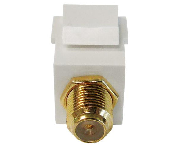 F-Type Keystone Insert, HD 3Ghz F81 Keystone Insert, Gold Plated, White