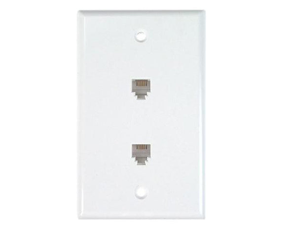 RJ11 Wall Plate With Telephone Jack - 2-Port, 4 or 6 Conductor, Flush Mount, Screw Type - Available in 2 Colors - Photos