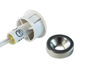 "Press Fit Reed Switch, 3/4"" Recessed w/ Cable Leads and Nickel Plated Magnets"