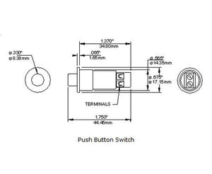 "Push Button Plunger Switch, Open Loop 9/16"" Press Fit with Screw Terminals"