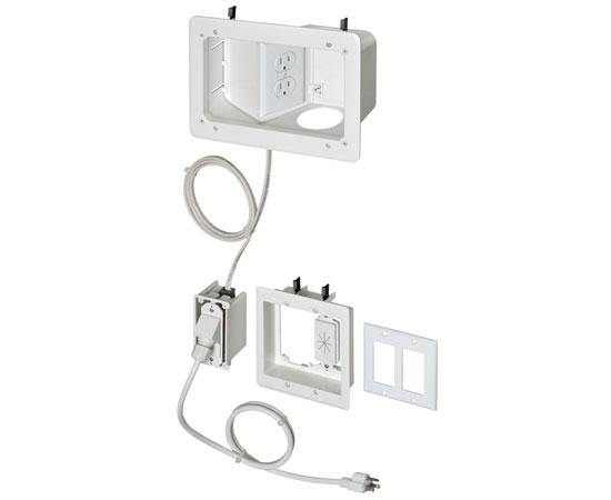 TV Bridge II Kit with angled power side in recessed box for Flat Screen TVs - White