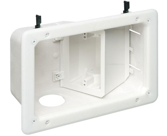Small Non-metallic Plastic recessed power/low voltage TV Box™ combination box with Angled Openings