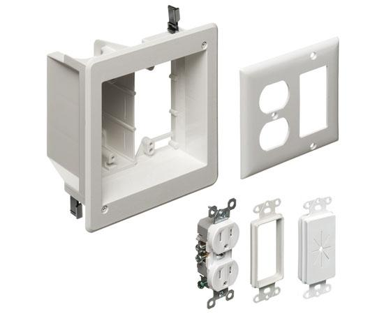 TV Box™ Kit Non-metallic Recessed 2-Gang Power & Low Voltage Electrical Box ™ White