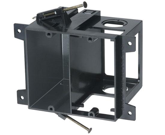 Two Gang Power & Low Voltage Box for New Construction - Black