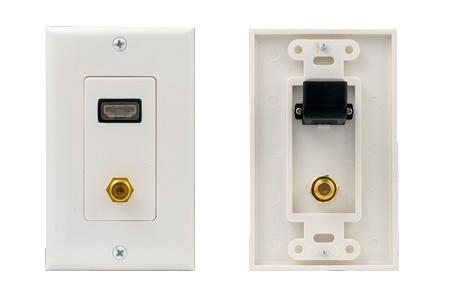 HDMI Wall Plate with 1 F-81 Insert, Gold Plated - White