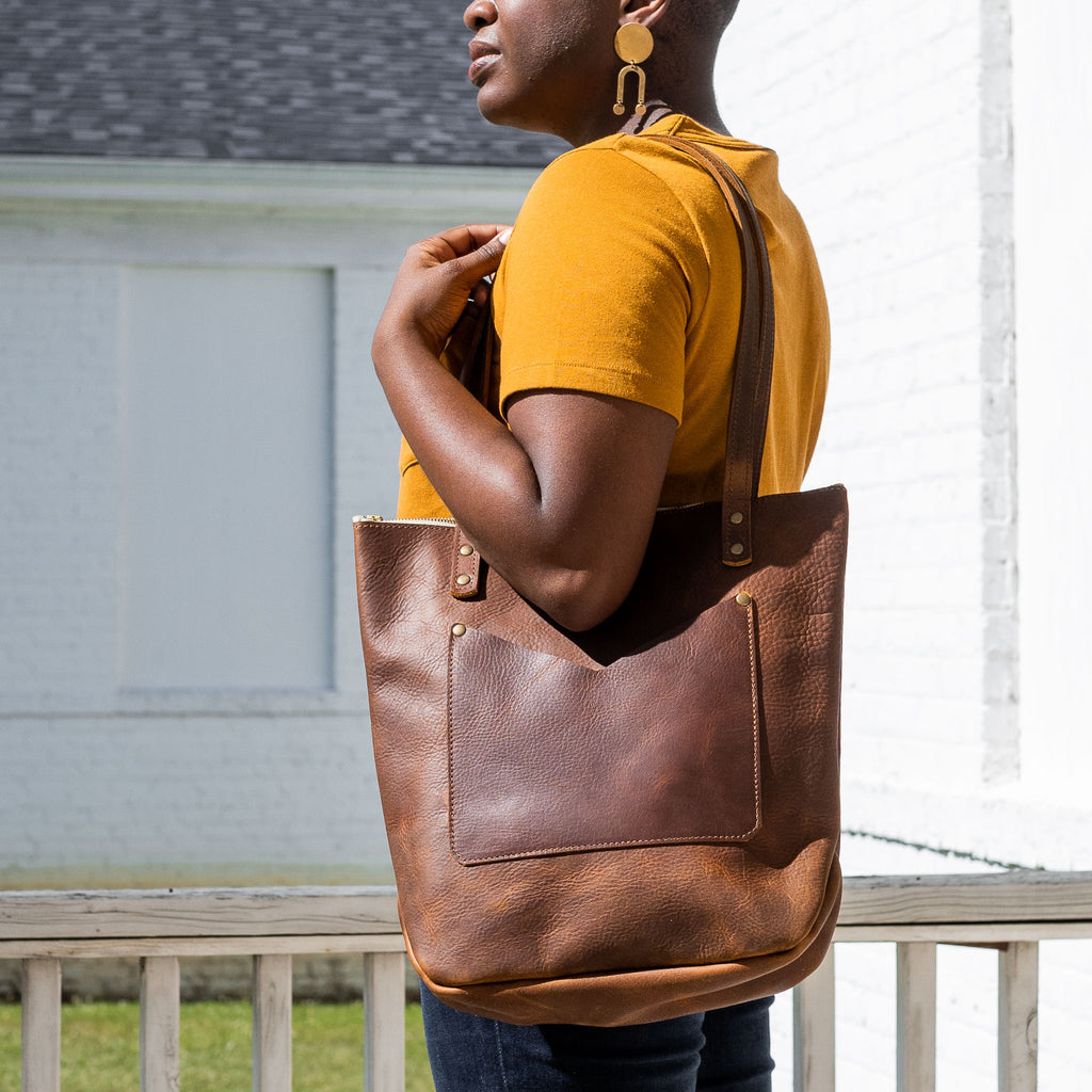 The Zipper Tote in Chestnut