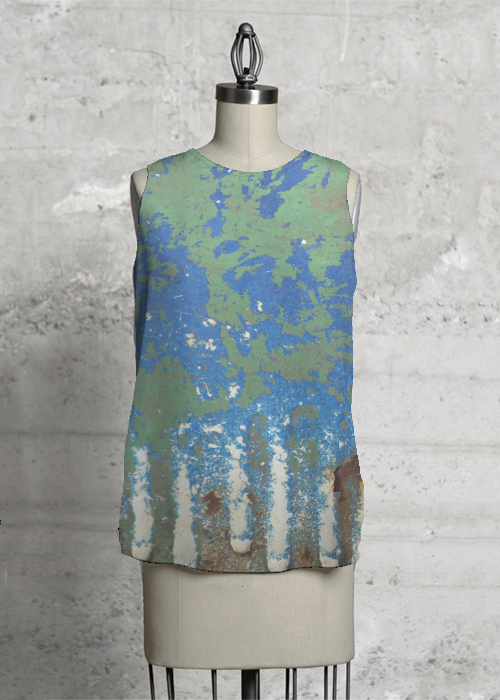 BlueGreenSplashSleeveless