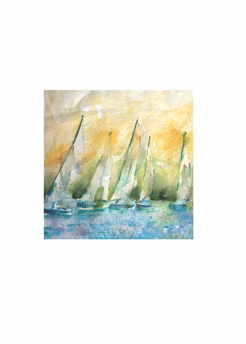 Sailboats Cotton Square