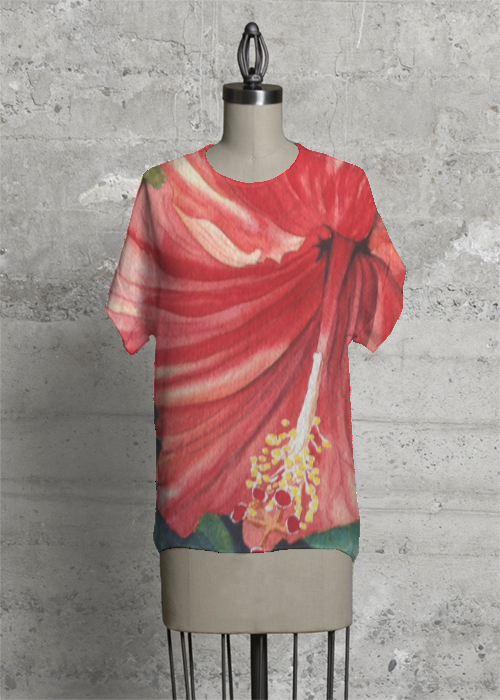 Red Hibiscus Tee