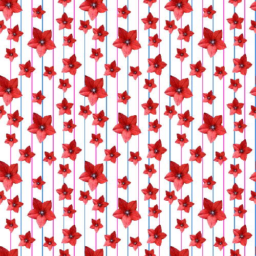 Flowers & Lines - Red