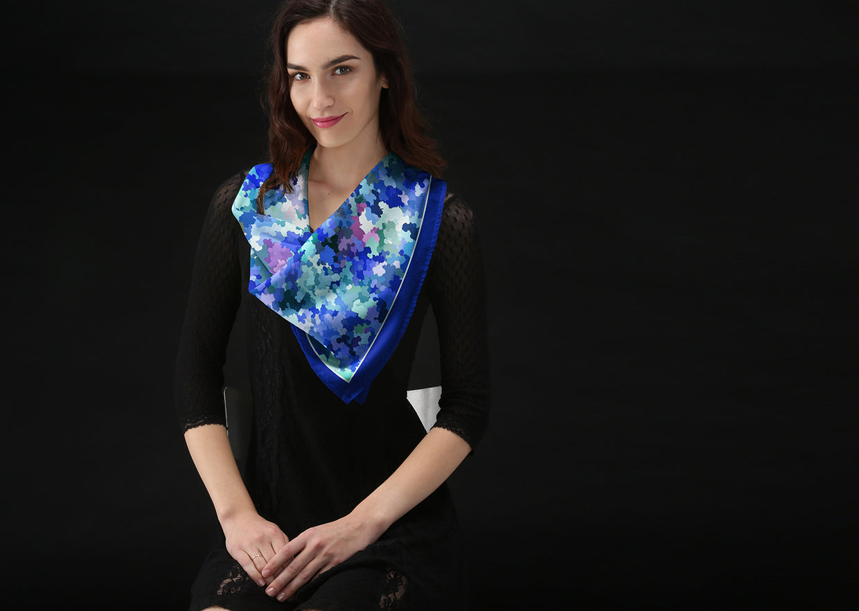 Silk Square Scarf - Dance With Me Scarf by VIDA VIDA K9t3t