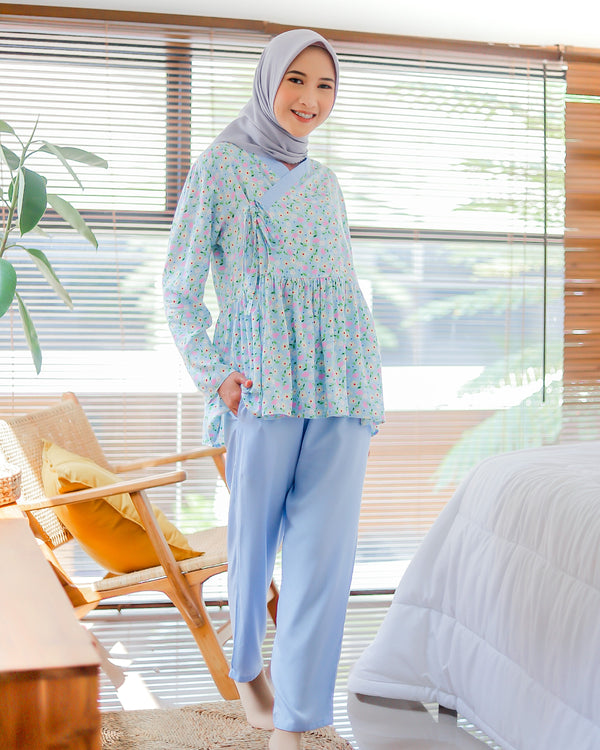 Aster Hanbok Pajamas Blue Sea
