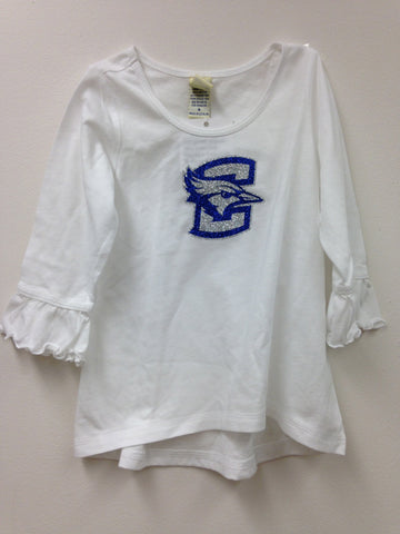 Little girls Glitter C with bluejay logo on white ruffle tee