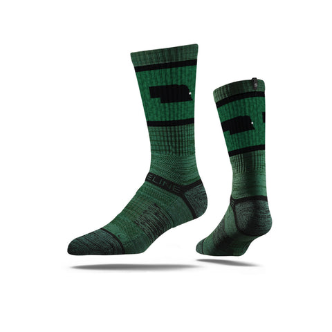 Strideline Nebraska Green Sock
