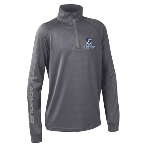 Kids Under Armour 1/4 Zip Pullover- Carbon Grey