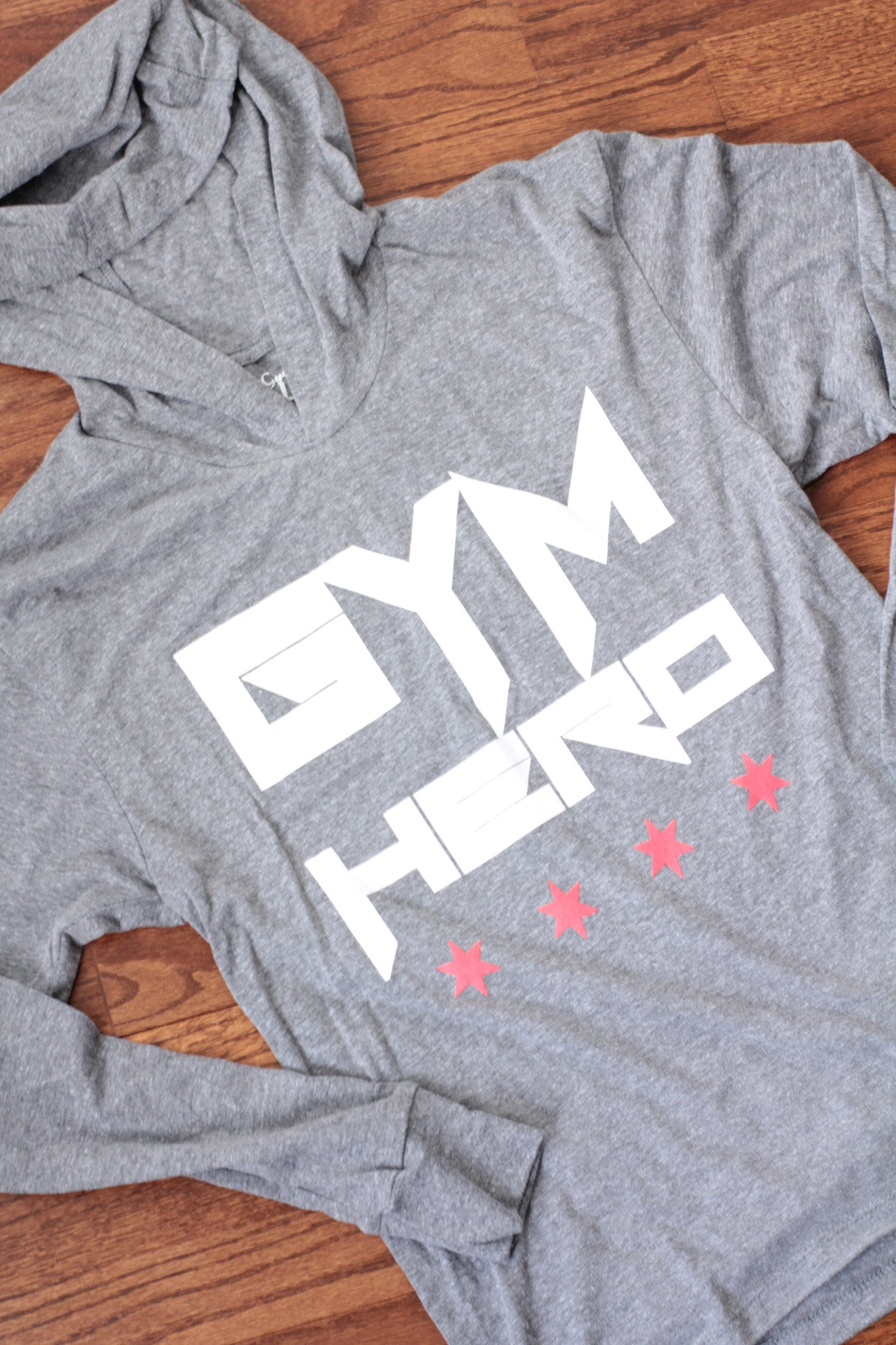 Gym Hero/Chicago Stars (Heather Grey Unisex Hooded Tee)