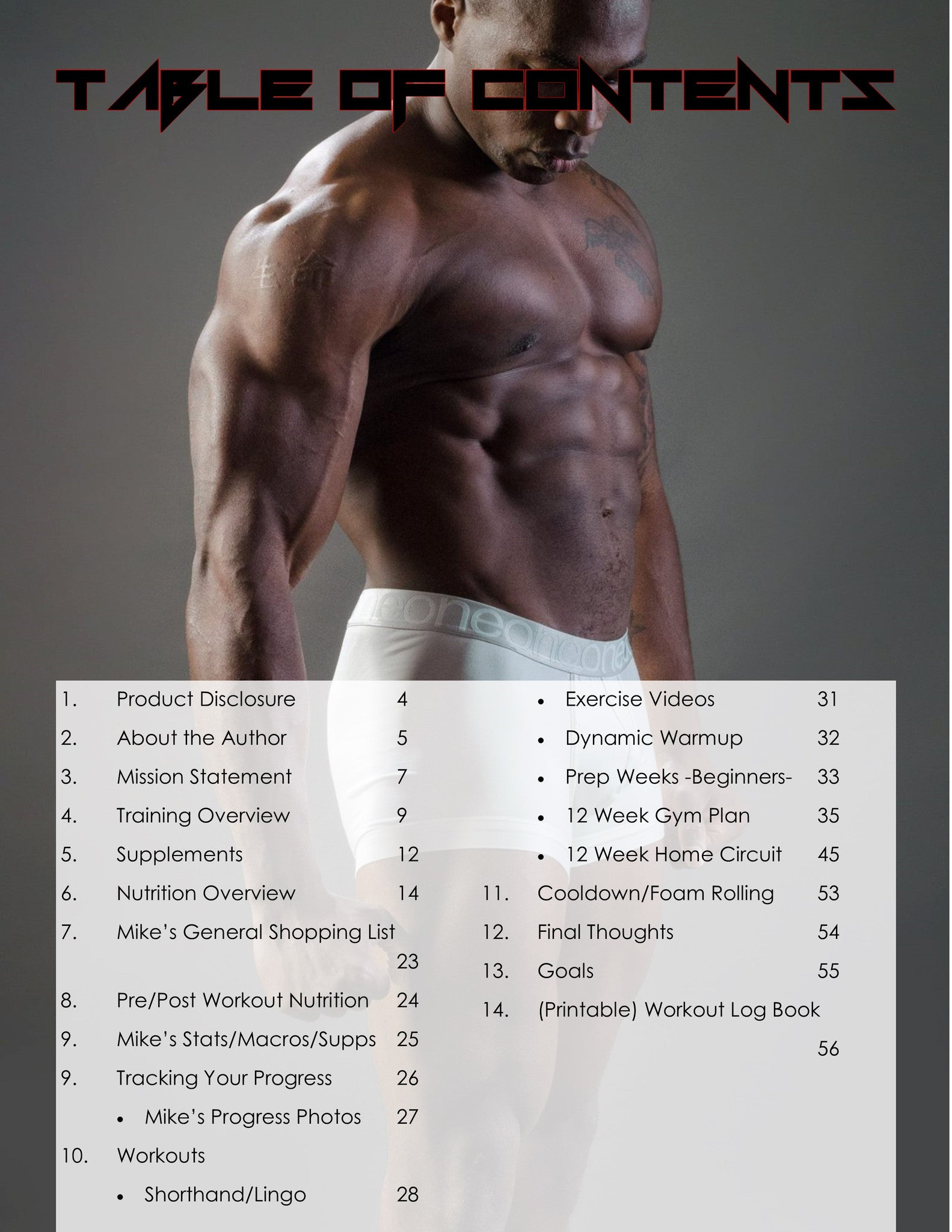 Home Workout Plan For Men the gym hero guidebook: 12 week gym/home workout plan | gym hero
