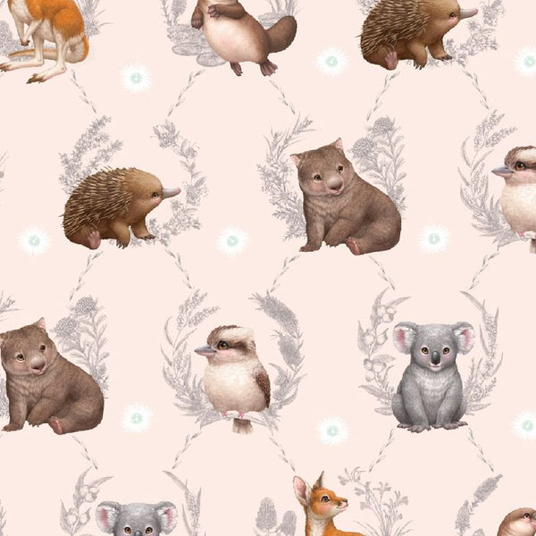 Little Aussie Friends- Peach- Large Animals- 100% COTTON