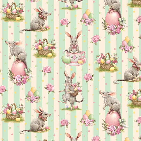 Devonstone Collections- Easter Bilby- Green Stripe- 100% COTTON