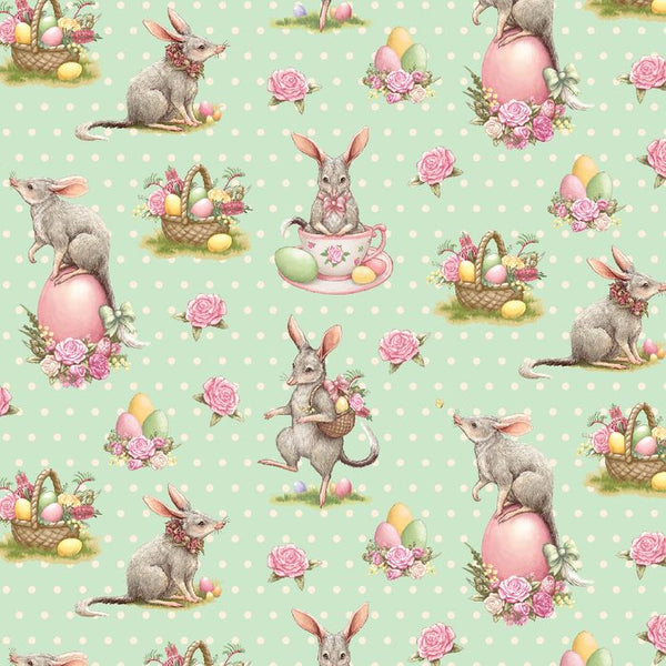 Devonstone Collections- Easter Bilby- Green Spot- 100% COTTON
