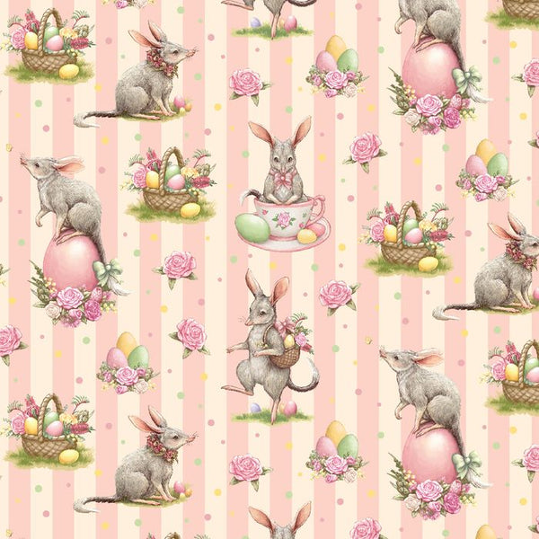 Devonstone Collections- Easter Bilby- Pink Stripe-100% COTTON