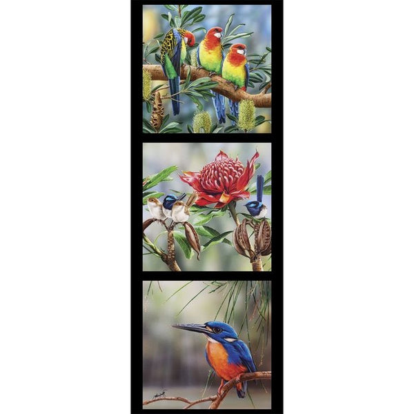 Devonstone Collection- Wildlife Art Panels- Rosella, Wrens, Kingfisher- 100% Cotton- WOVEN