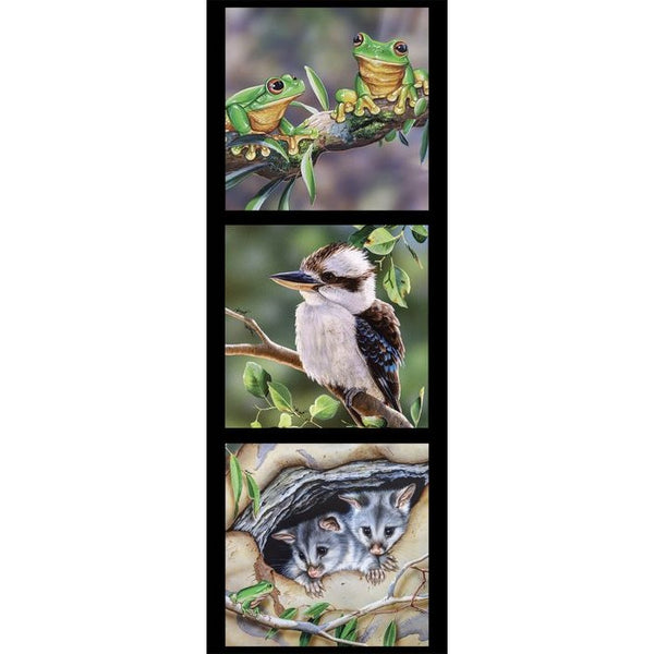 Devonstone Collection- Wildlife Art Panels- Frogs, Kookaburra, Possum- 100% Cotton- WOVEN