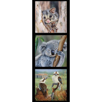 Devonstone Collection- Wildlife Art Panels- Possum, Koala, and Kookaburras- 100% Cotton- WOVEN