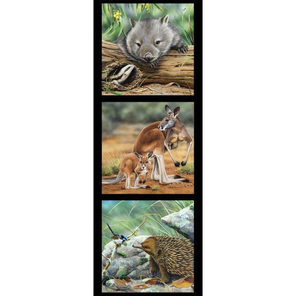 Devonstone Collection- Wildlife Art Panels- Wombat, Kangaroo, Echidna- 100% Cotton- WOVEN