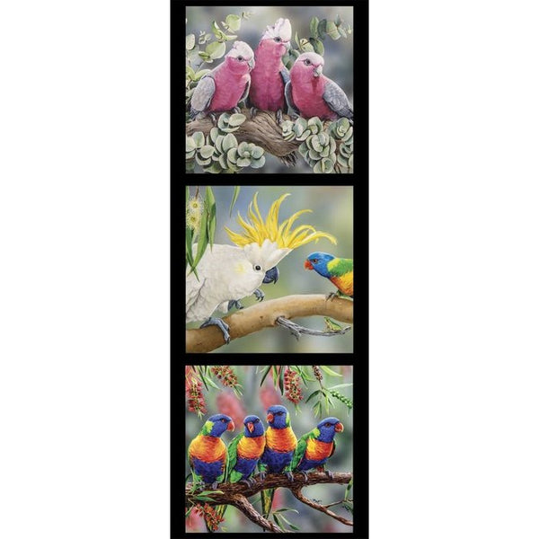 Devonstone Collection- Wildlife Art Panels- Galah, Cockatoo, Lorikeets- 100% Cotton- WOVEN