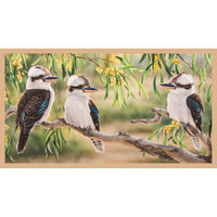 Devonstone Collection- Wildlife Art 4 Panels- Kookaburra- 100% Cotton- WOVEN