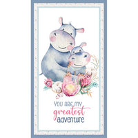 Devonstone Collections- A Mothers Love- Panel- Hippopotamus- 100% Cotton- WOVEN