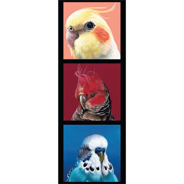 Devonstone Collection- Chris Riley- Cockatiel, Gang Gang Cockatoo, Budgie Panel- 100% Cotton- WOVEN
