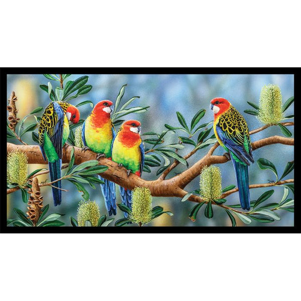 Devonstone Collection- Wildlife Art 4 Panels- Rosella- 100% Cotton- WOVEN