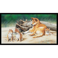 Devonstone Collection- Wildlife Art 4 Panels- Dingo- 100% COTTON