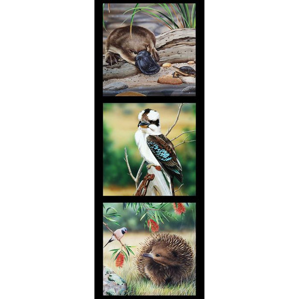 Devonstone Collection- Wildlife Art 5 Panels- Platypus- Kookaburra- Echidna- 100% Cotton- WOVEN