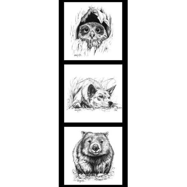 Natalie Jane Parker Collection- Wildlife Art Panels- Owl, Dingo & Wombat- 100% Cotton- WOVEN