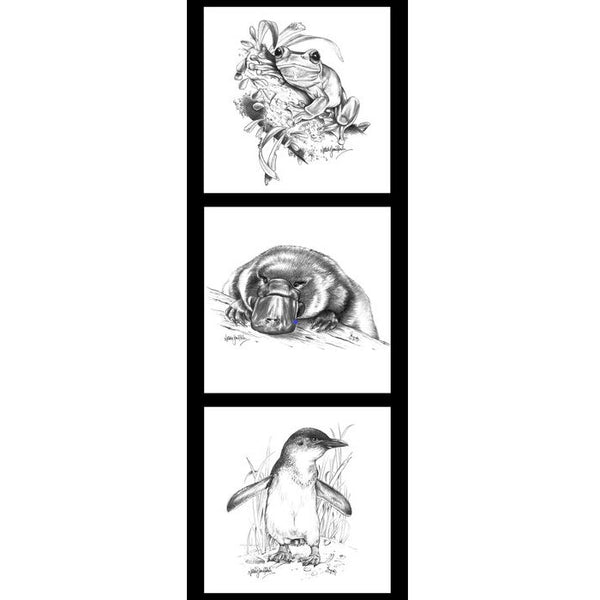 Natalie Jane Parker Collection- Wildlife Art Panels- Frog, Platypus, Penguin - 100% Cotton- WOVEN