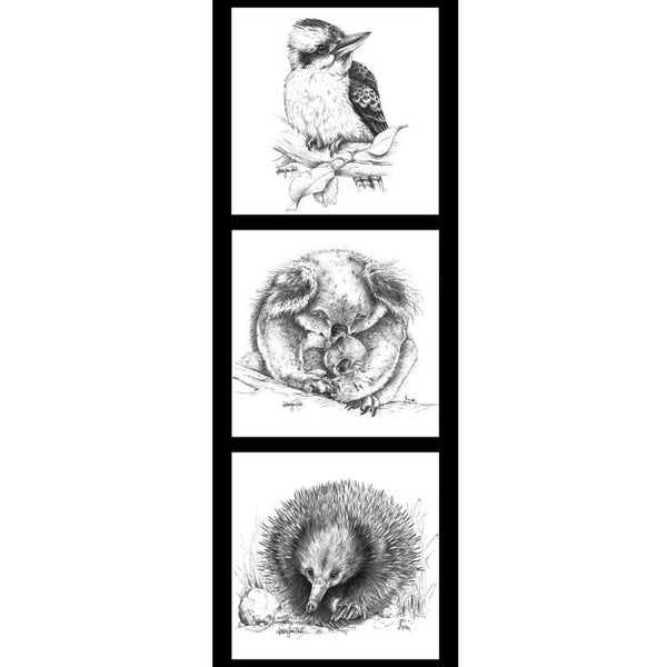 Natalie Jane Parker Collection- Wildlife Art Panels- Kookaburra, Koala, Echidna - 100% Cotton- WOVEN