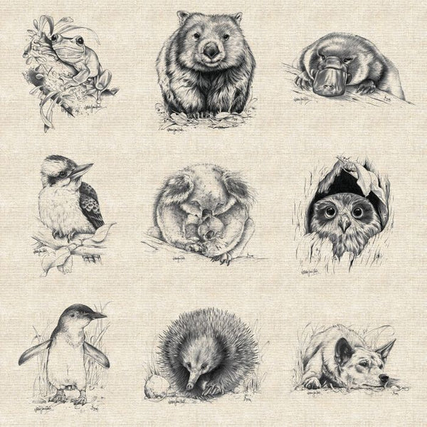 Natalie Jane Parker Collection- Wildlife Art Panels- Australian Animals- COTTON/LINEN