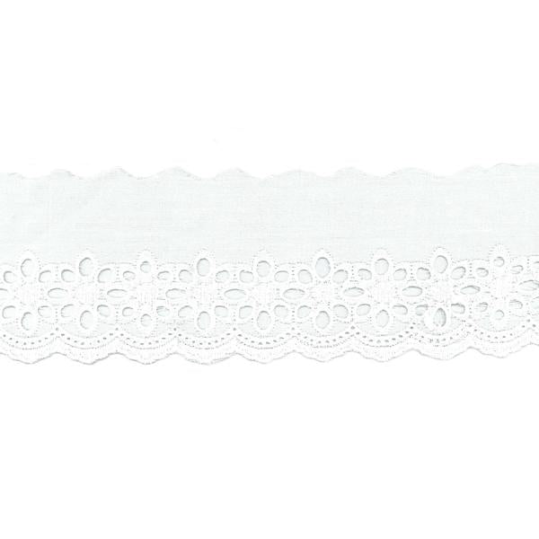 Birch Cambric Lace- 80mm x 2.56 Metre- White